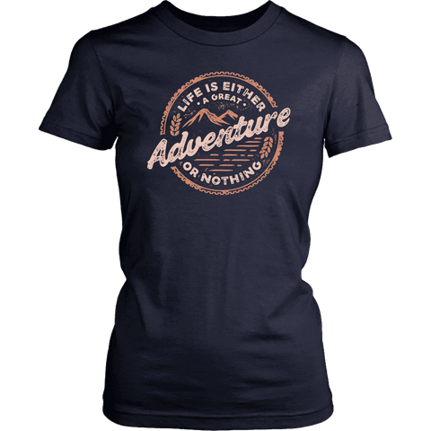 Image of Life Is A Great Adventure T-shirt District Womens Shirt Navy XS
