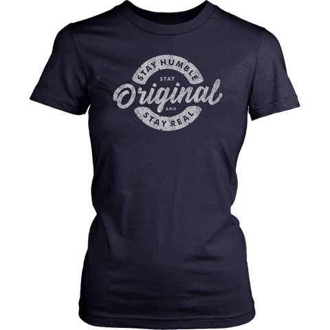 Stay Real, Stay Original Womens T-shirt District Womens Shirt Navy XS