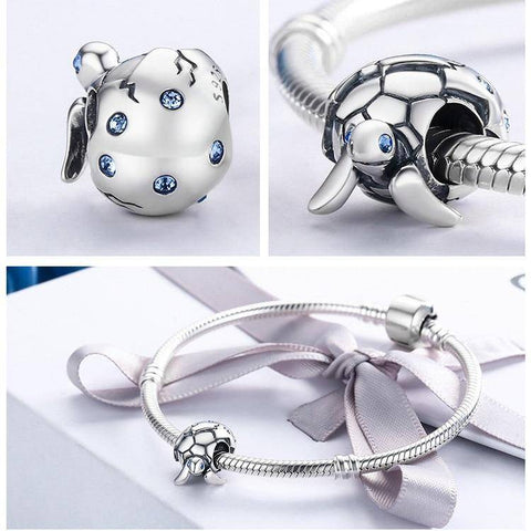 Image of 925 Sterling Silver Newborn Turtle Charm Charm Bracelets