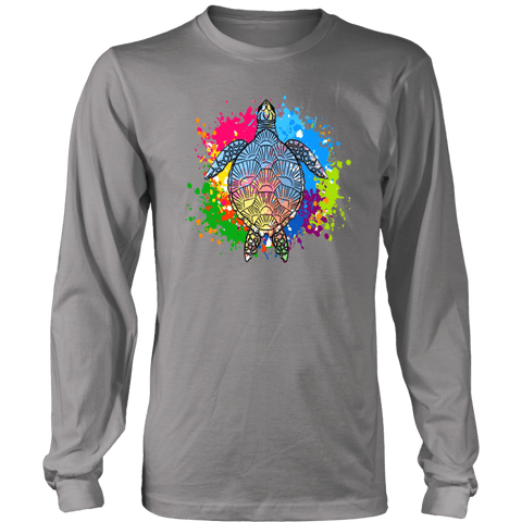 Image of Vibrant Color Splash Sea Turtle T-shirt District Long Sleeve Shirt Grey S