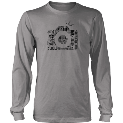 Awesome Word Camera Shirt T-shirt District Long Sleeve Shirt Grey S