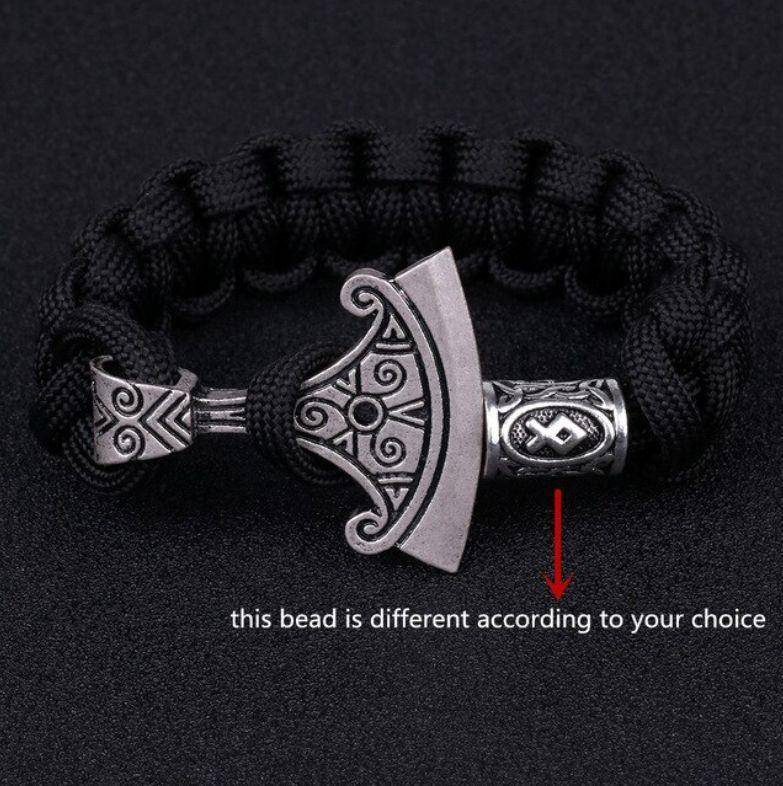 Norse Rune and Axe Paracord Bracelet Chain & Link Bracelets Black No.1 Bead