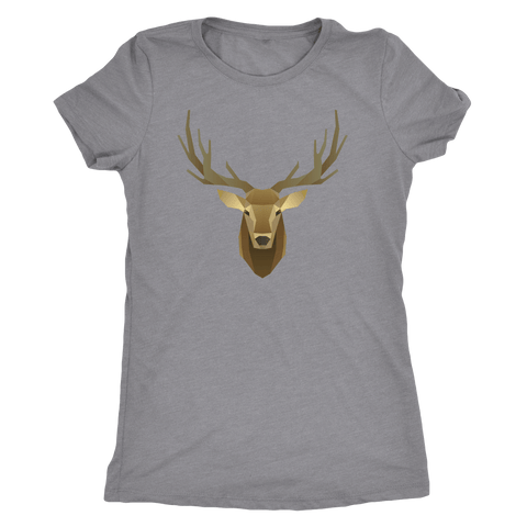 Image of Deer Portrait, Real T-shirt Next Level Womens Triblend Heather Grey S