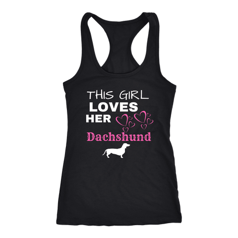 Image of This Girl Loves Her Dachshund T-shirt Next Level Racerback Tank Black XS