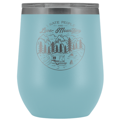 Love The Mountains | Wine Tumbler Wine Tumbler Light Blue