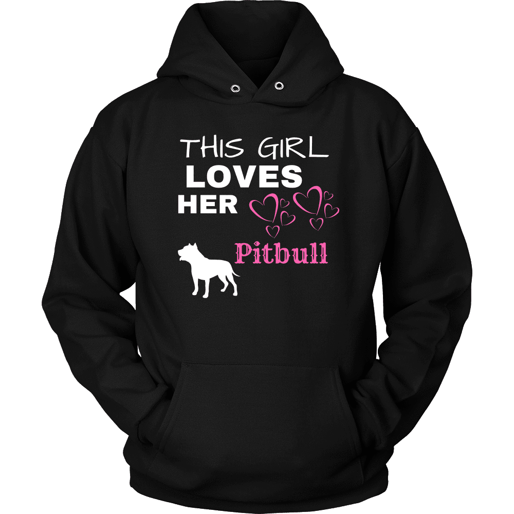 This Girl Loves Her Pitbull T-shirt Unisex Hoodie Black S