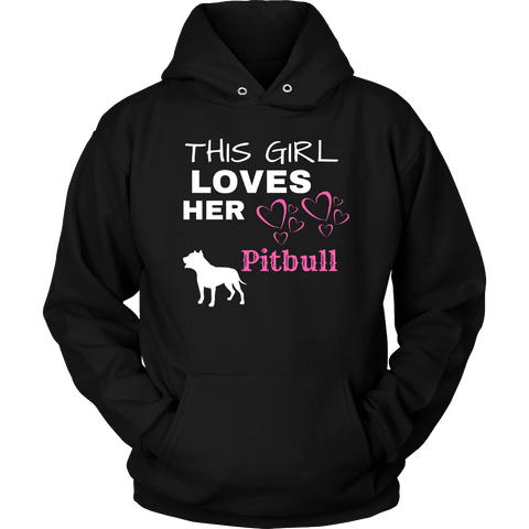 Image of This Girl Loves Her Pitbull T-shirt Unisex Hoodie Black S
