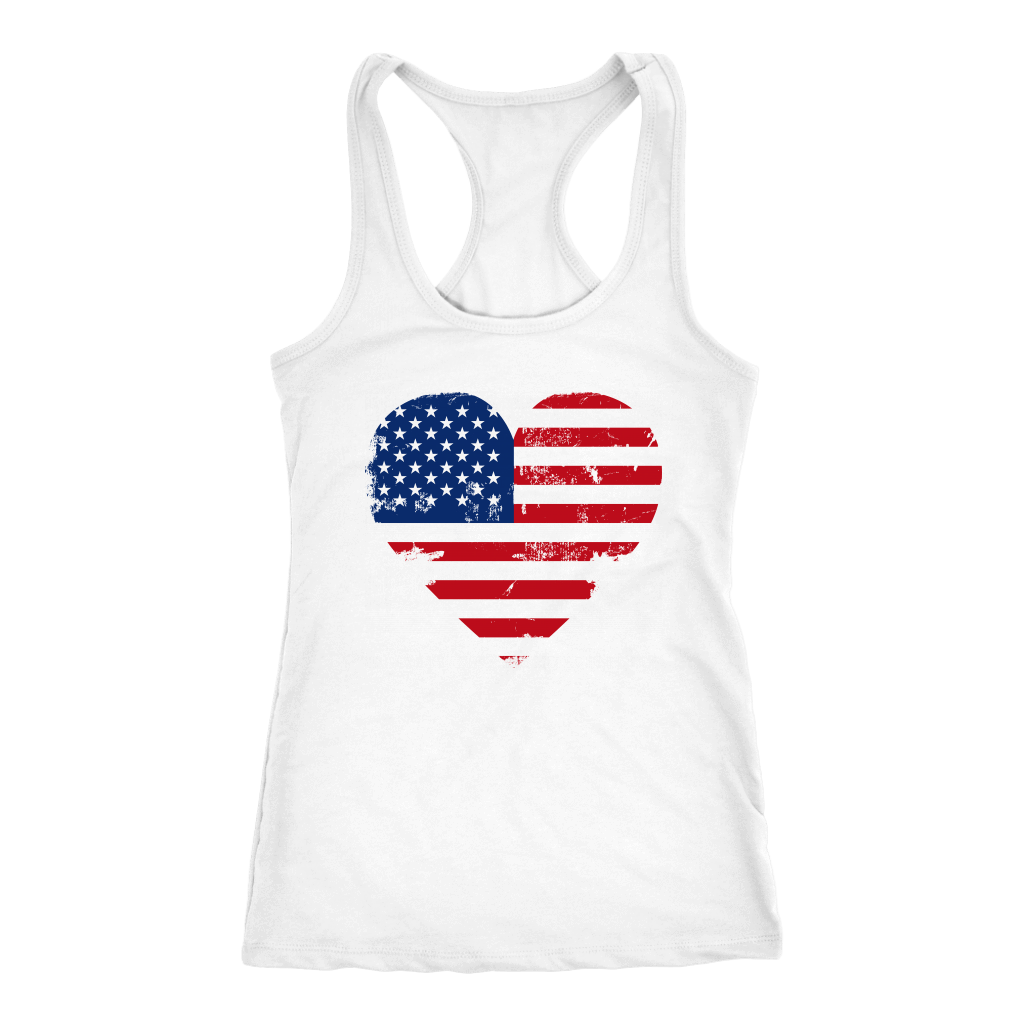 Love America Racerback Tanktop T-shirt Next Level Racerback Tank White XS