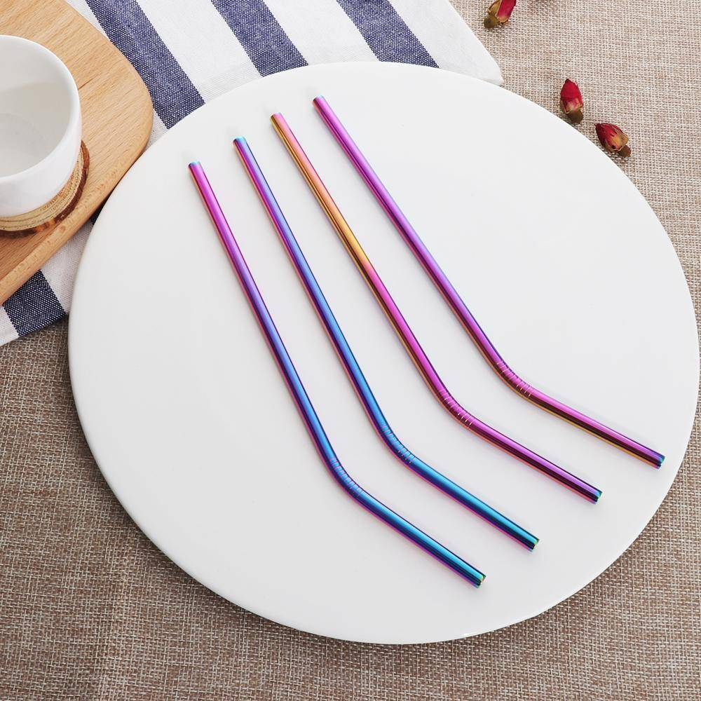 4PCS/Pack Colorful Stainless Steel Drinking Straws