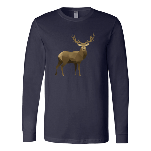 Real Polygonal Deer T-shirt Canvas Long Sleeve Shirt Navy S