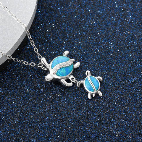 Image of Mother and Baby Turtle Pendant Necklace