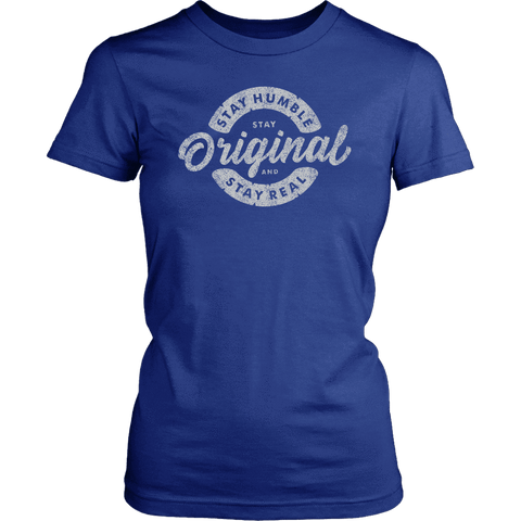 Image of Stay Real, Stay Original Womens T-shirt District Womens Shirt Royal Blue XS