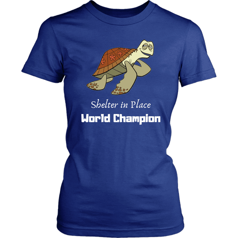 Image of Shelter In Place World Champion, White Print T-shirt District Womens Shirt Royal Blue XS