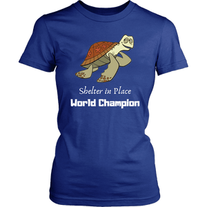 Shelter In Place World Champion, White Print T-shirt District Womens Shirt Royal Blue XS