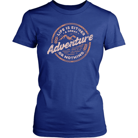 Image of Life Is A Great Adventure T-shirt District Womens Shirt Royal Blue XS