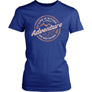Life Is A Great Adventure T-shirt District Womens Shirt Royal Blue XS