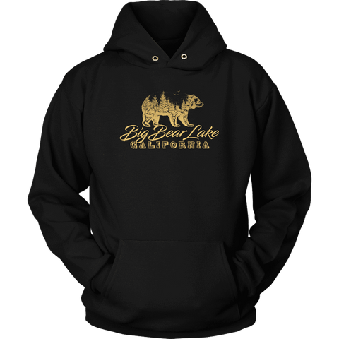 Image of Big Bear Lake California V.2, Gold, Hoodies Long Sleeve T-shirt Unisex Hoodie Black S