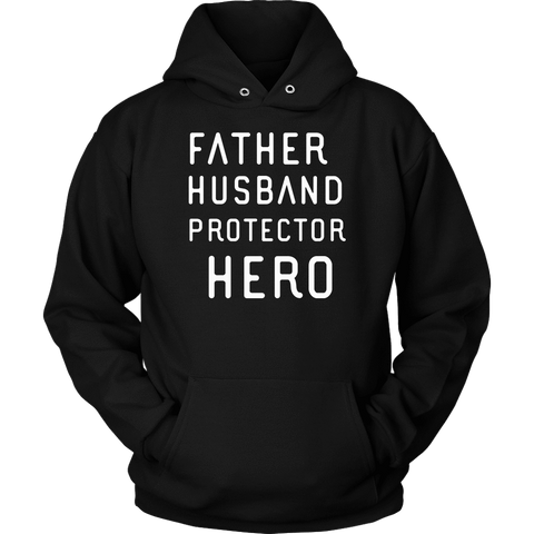 Image of Father Husband Protector Hero White Print T-shirt Unisex Hoodie Black S