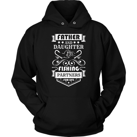 Image of Father and Daughter Fishing Partners T-shirt Unisex Hoodie Black S