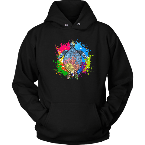 Image of Vibrant Color Splash Sea Turtle T-shirt Unisex Hoodie Black S