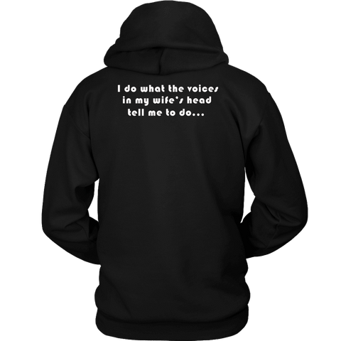 Image of Voices in Her Head | White Print T-shirt Unisex Hoodie Black S
