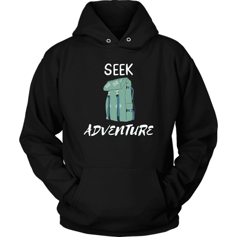 Image of Seek Adventure with Backpack (Mens) T-shirt Unisex Hoodie Black S