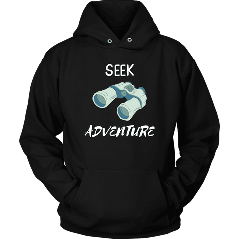 Image of Seek Adventure with Binoculars (Womens) T-shirt Unisex Hoodie Black S
