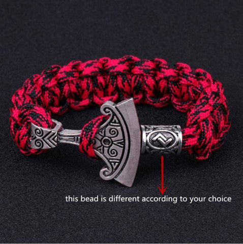 Image of Norse Rune and Axe Paracord Bracelet Chain & Link Bracelets Camo Red No.1 Bead