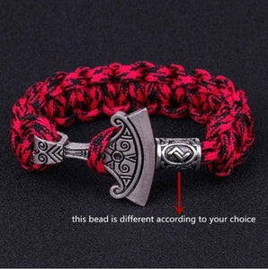 Norse Rune and Axe Paracord Bracelet Chain & Link Bracelets Camo Red No.1 Bead