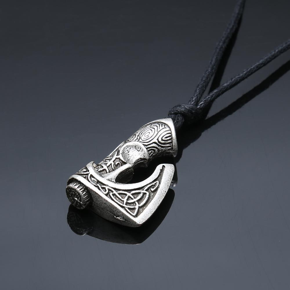 Antique Silver Viking Axe Pendant Necklace