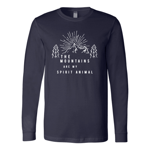 Image of Mountains Spirit T Shirt 1 T-shirt Canvas Long Sleeve Shirt Navy S