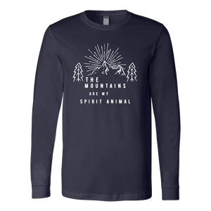 Mountains Spirit T Shirt 1 T-shirt Canvas Long Sleeve Shirt Navy S