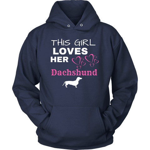 This Girl Loves Her Dachshund T-shirt Unisex Hoodie Navy S