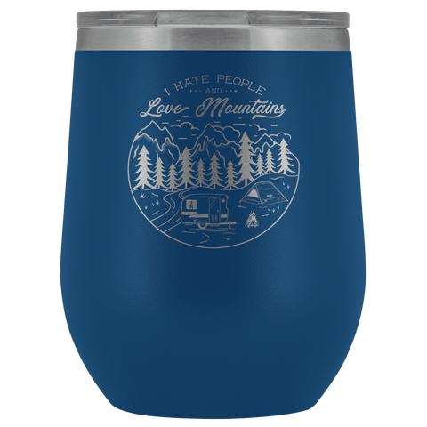 Image of Love The Mountains | Wine Tumbler Wine Tumbler Blue