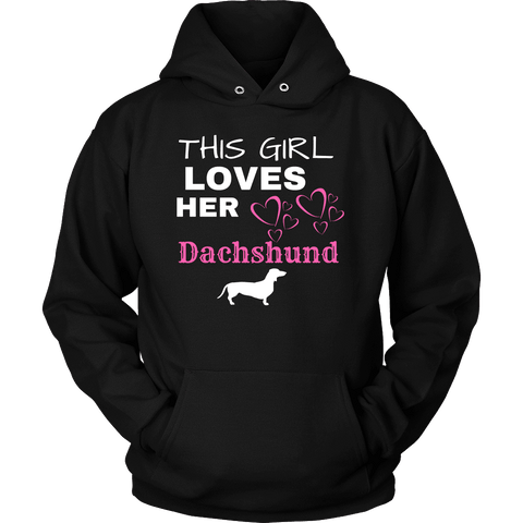 Image of This Girl Loves Her Dachshund T-shirt Unisex Hoodie Black S