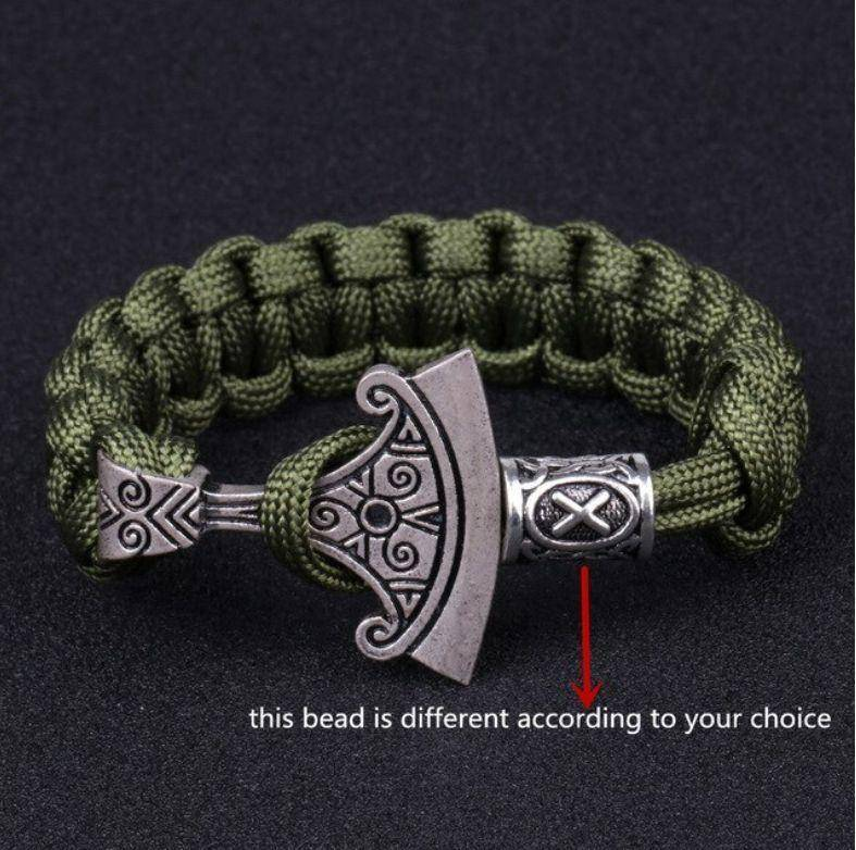 Norse Rune and Axe Paracord Bracelet Chain & Link Bracelets Army Green No.1 Bead
