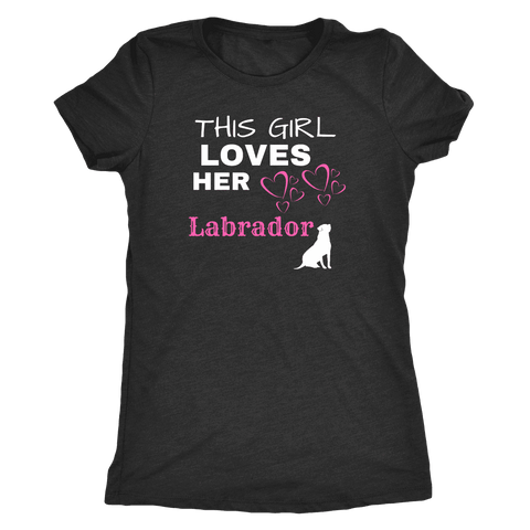 Image of This Girl Loves Her Lab T-shirt Next Level Womens Triblend Vintage Black S