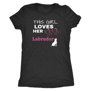 This Girl Loves Her Lab T-shirt Next Level Womens Triblend Vintage Black S
