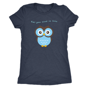 Owl You Need is Love T-shirt Next Level Womens Triblend Vintage Navy S