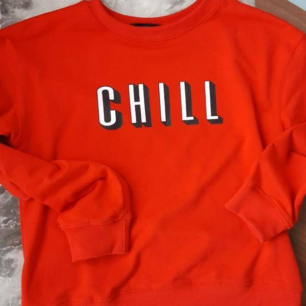 "Solid Red ""CHILL"" Sweatshirt"