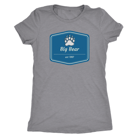 Image of Big Bear Blue Logo T-shirt Next Level Womens Triblend Heather Grey S