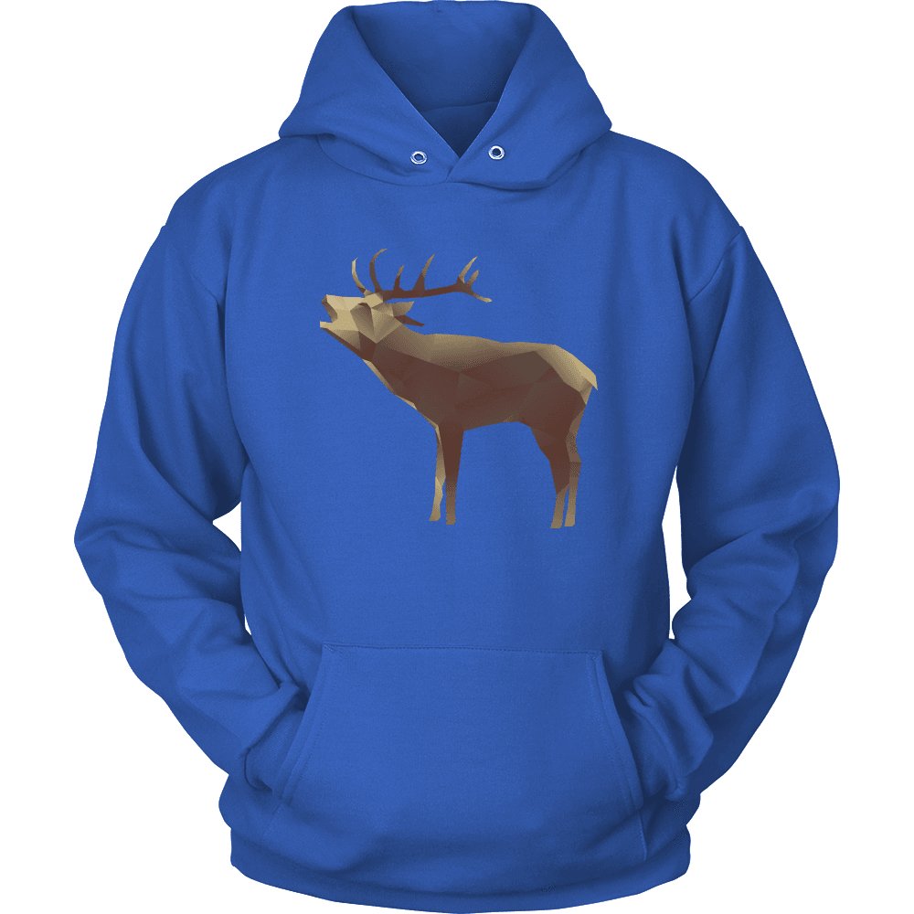Large Polygonaly Deer T-shirt Unisex Hoodie Royal Blue S