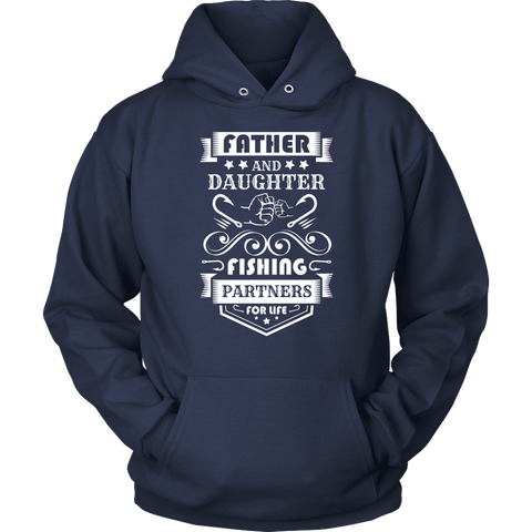Image of Father and Daughter Fishing Partners T-shirt Unisex Hoodie Navy S