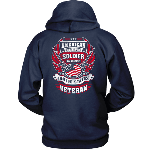 American by Birth, Soldier by Choice T-shirt Unisex Hoodie Navy S