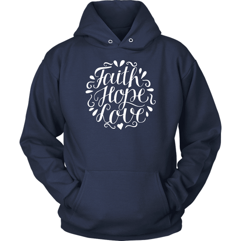 Image of Faith Hope and Love, White Print T-shirt Unisex Hoodie Navy S