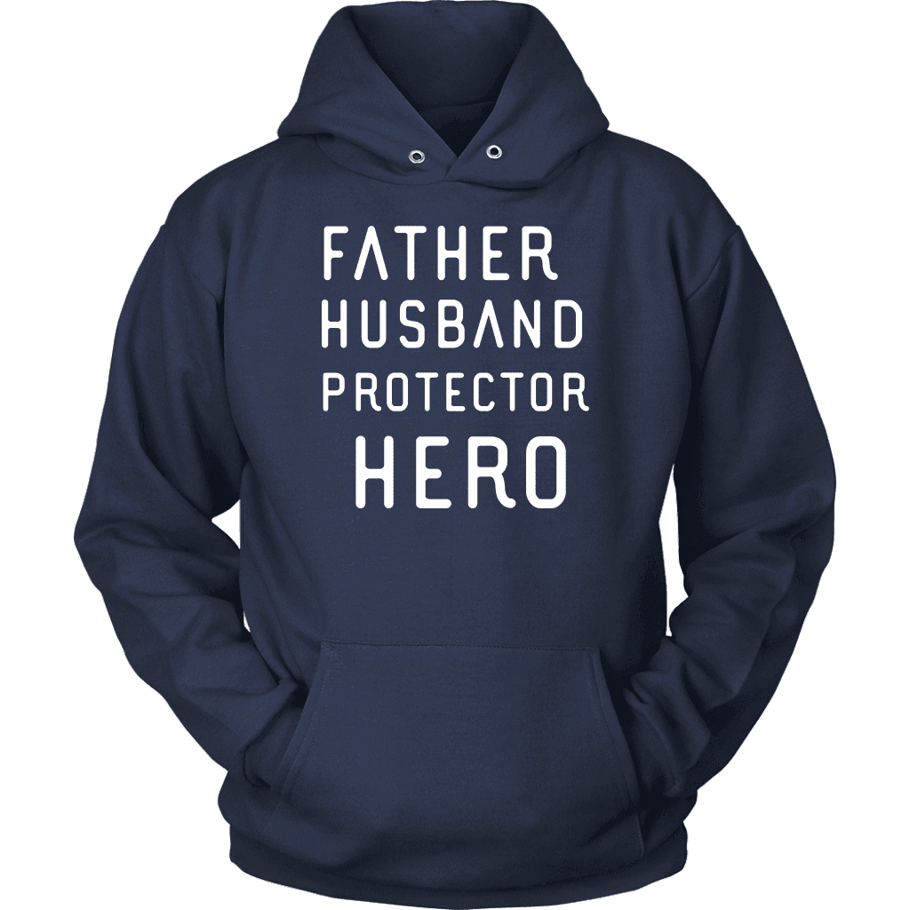 Father Husband Protector Hero White Print T-shirt Unisex Hoodie Navy S
