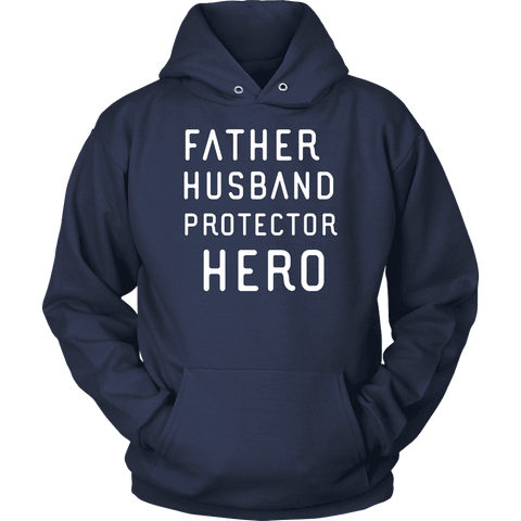 Image of Father Husband Protector Hero White Print T-shirt Unisex Hoodie Navy S