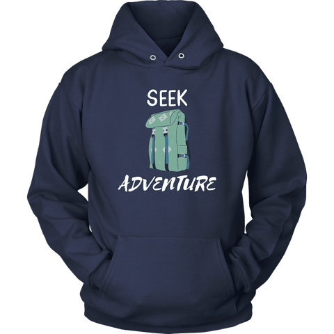 Image of Seek Adventure with Backpack (Mens) T-shirt Unisex Hoodie Navy S