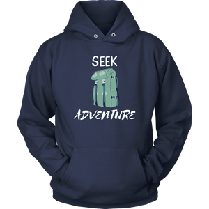Seek Adventure with Backpack (Mens) T-shirt Unisex Hoodie Navy S