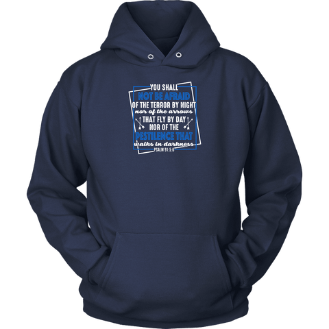 Image of You shall not be afraid Psalm 91 5-6 White Longsleeve and Hoodies T-shirt Unisex Hoodie Navy S